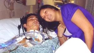 Iwamoto in hospital bed