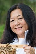 Lorna Tsutsumi with bees