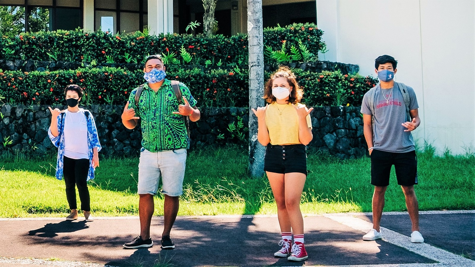 Four students in masks.