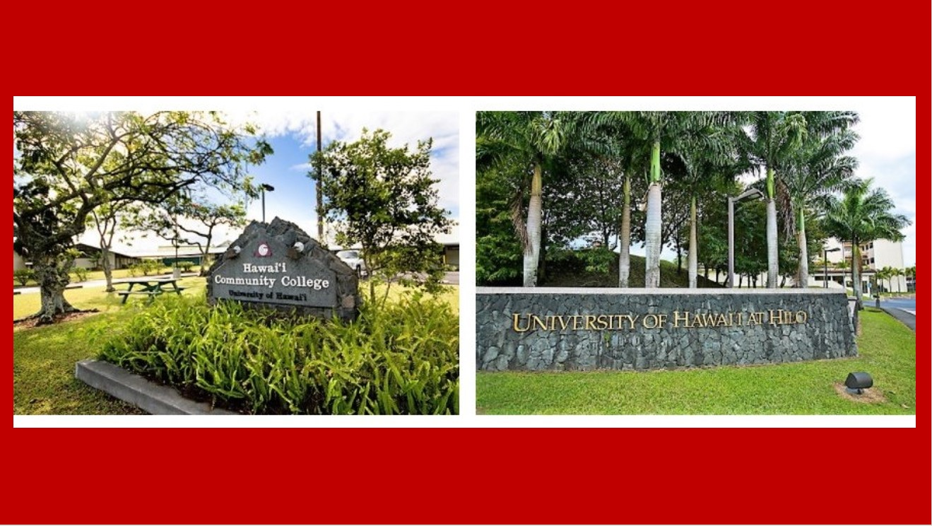 Signage from Hawaii CC and UH Hilo.