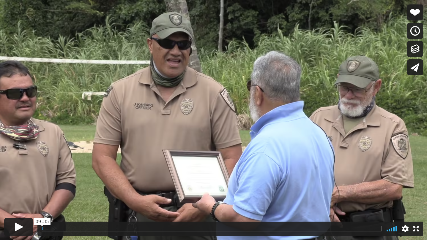 Screenshot of Officer Kahiapo receiving award.