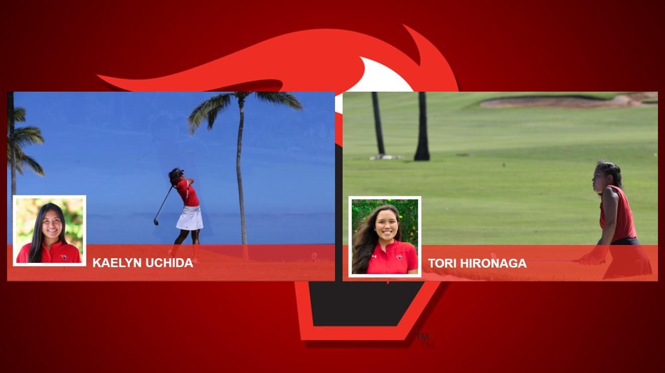 Kaelyn Uchida and Tori Hironaga, portraits and photos of them playing golf, with Vulcan flame logo.