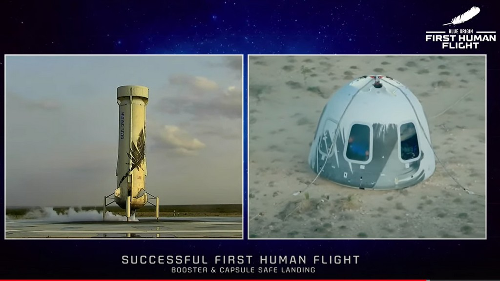 At left, booster safely landed, at right, capsule safely landed, in desert environment.