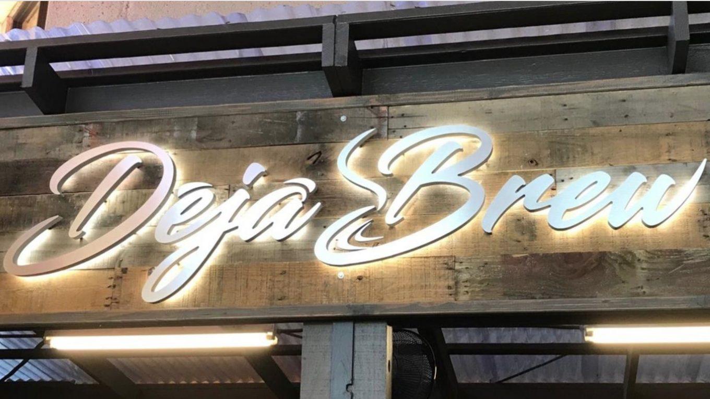 Signage for Deja Brew