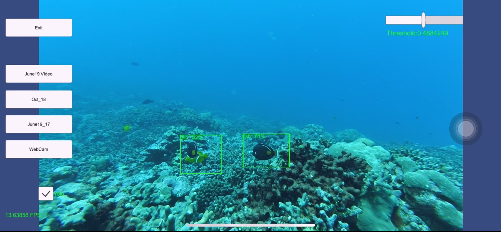 Screenshot of underwater image with two fish identified.