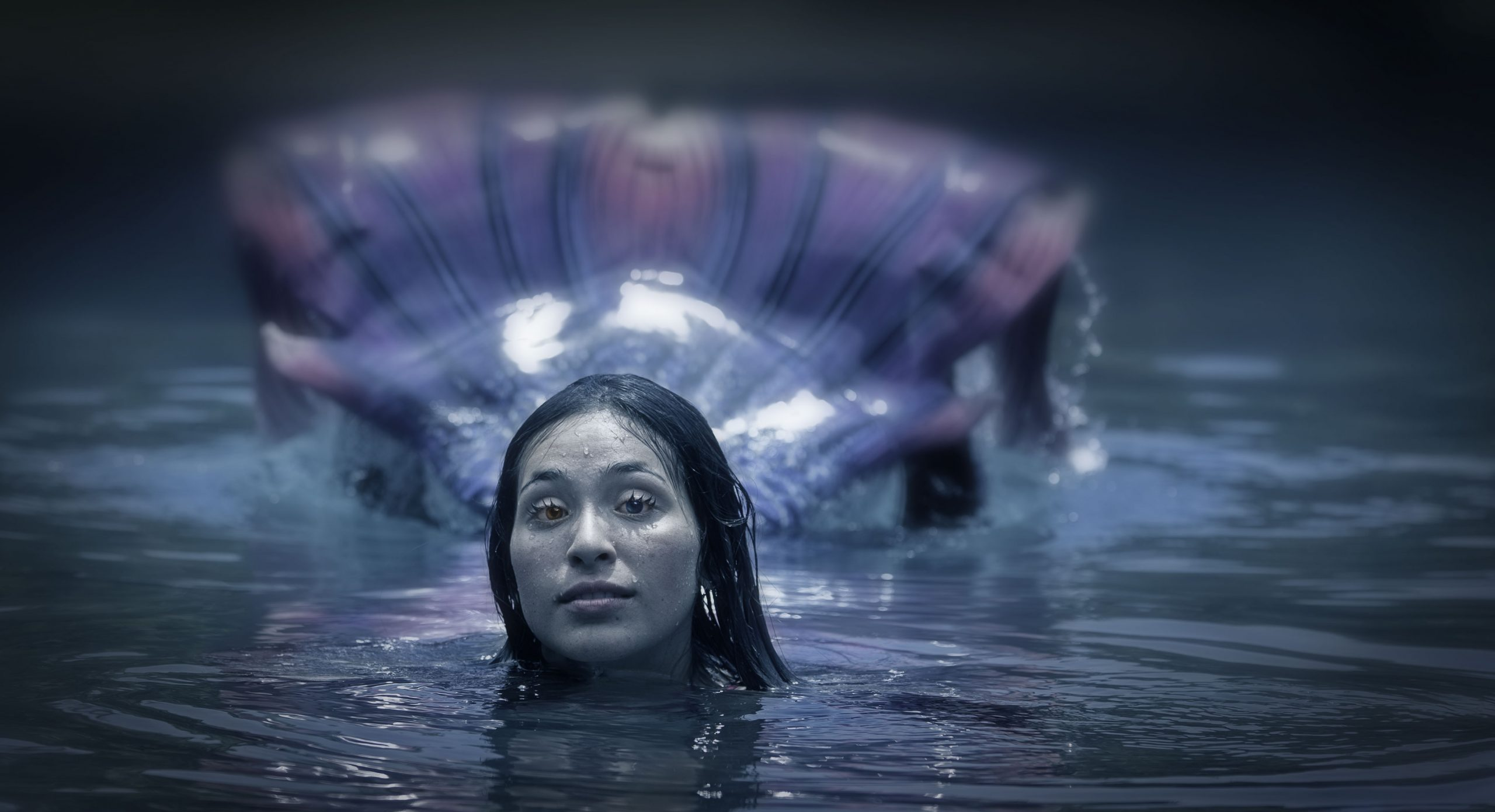Mermaid coming up above water.