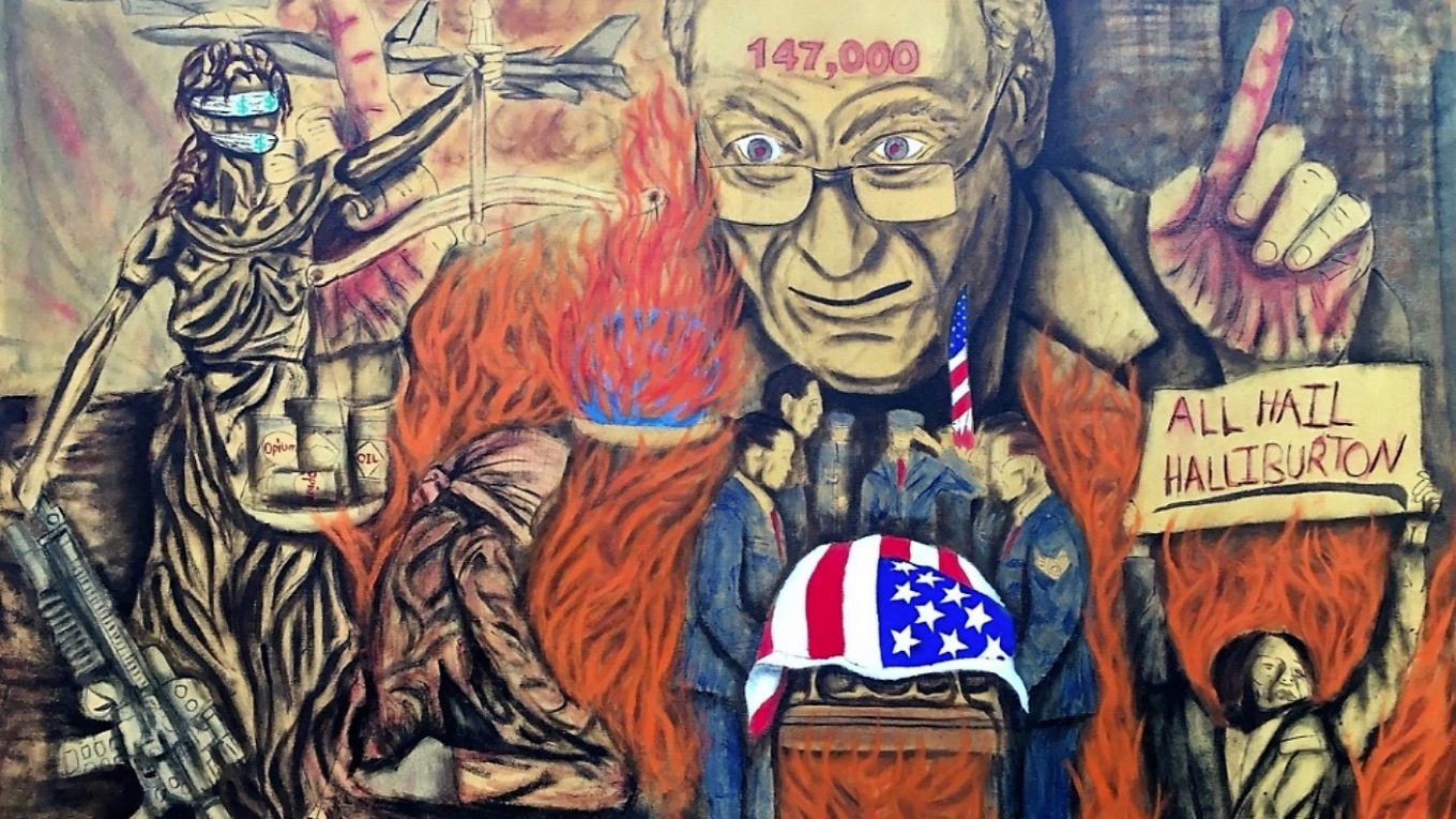 """Painting of Dick Cheney, Statue of Liberty, fire, sign """"ALL HAIL HALLIBURTON,"""" guns, casket."""