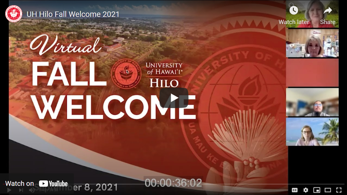 Screenshot of Zoom Event, Fall Welcome, Chancellor Irwin in top right corner.