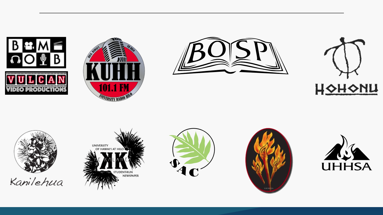 Eight logos of various student organizations.