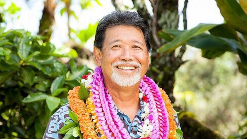 David Sing pictured with lei.