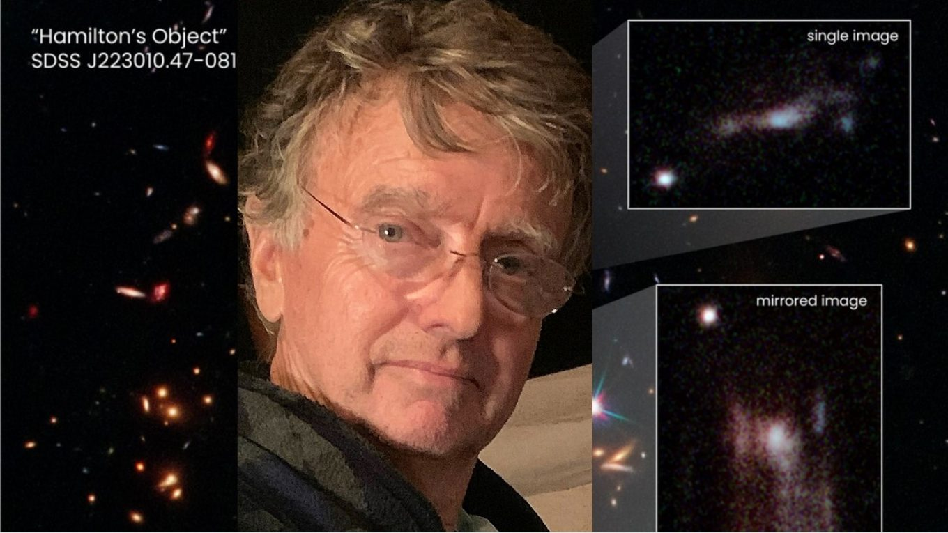 Richard Griffiths pictured with NASA image of Hamilton's Object (in space).