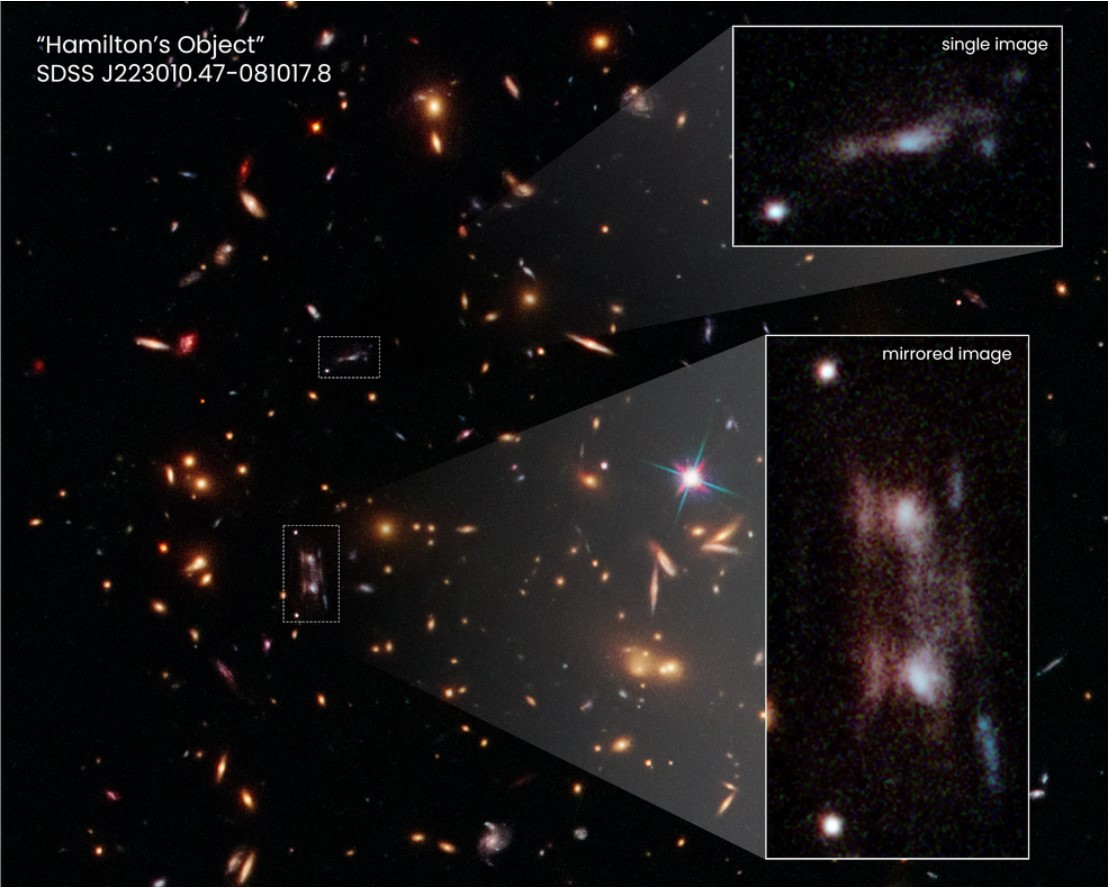Image of galaxy with inserts of mirrored images.