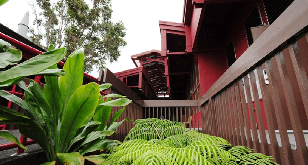 Pictured is red-painted buildings surrounded by ferns and ti.