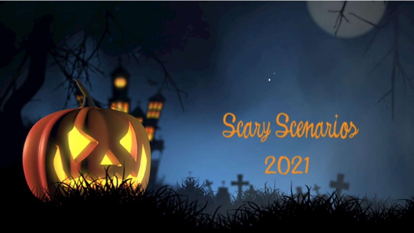 Scary Scenarios 2021 with carved pumpkin