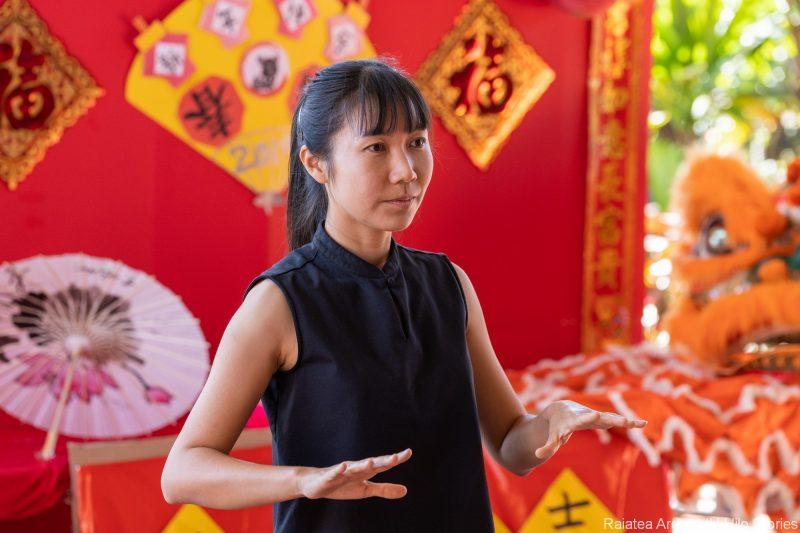 Woman in taiji stance.