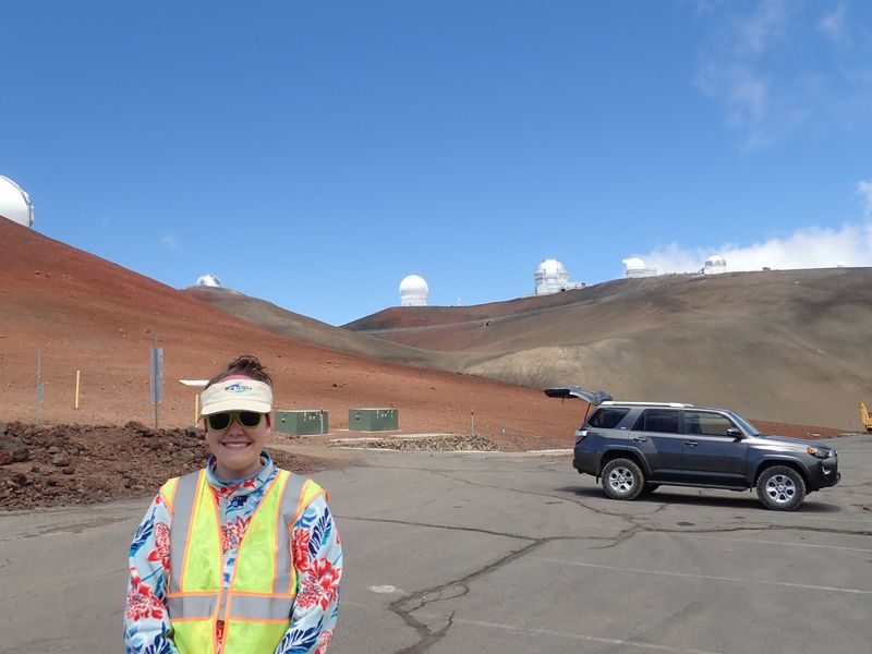 Natalie visiting the telescopes at the summit of Maunakea