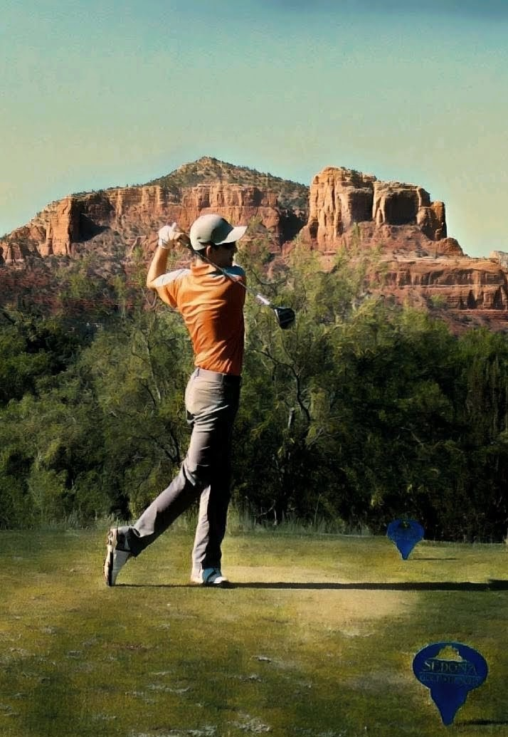 CJ golfing in Sedona, Arizona with the Vulcans