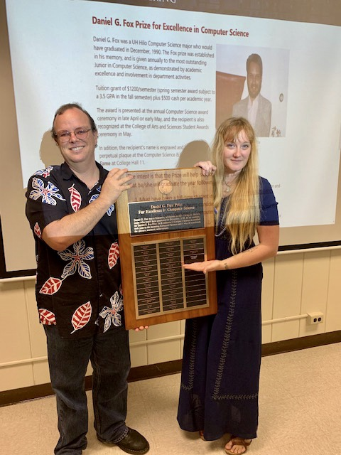 UH Hilo Student displays their Daniel G. Fox Prize for Excellence in Computer Science.