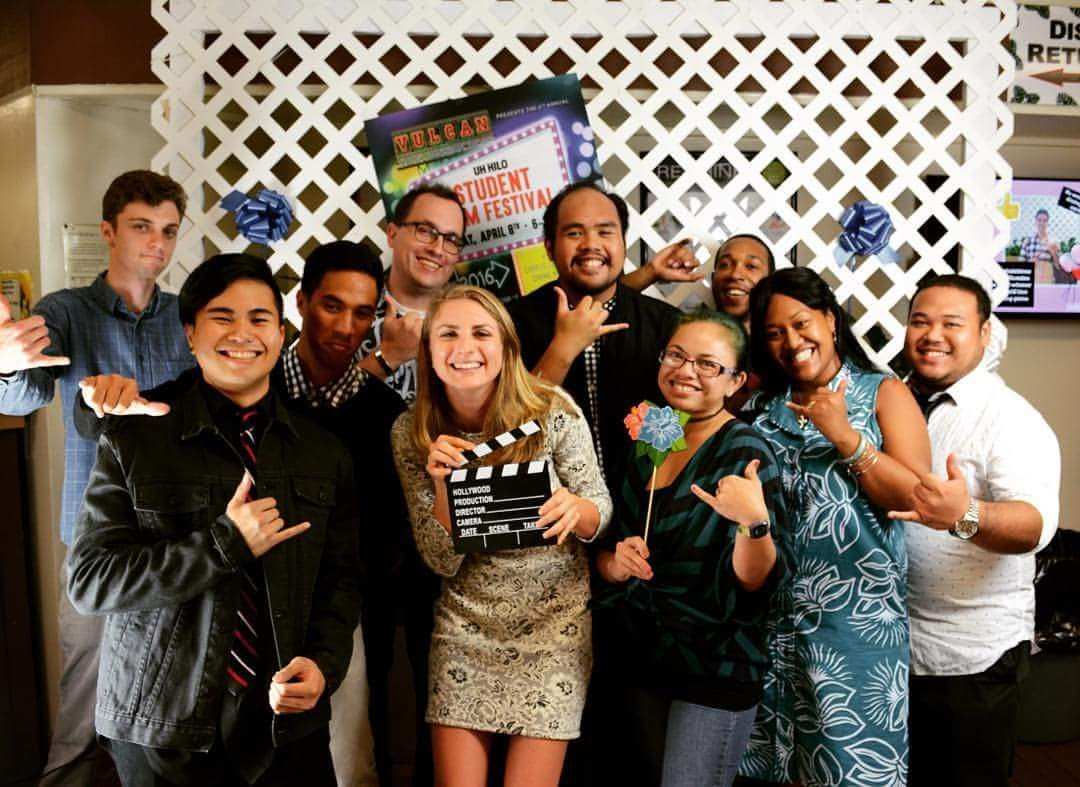UH Hilo students enjoy time together at the student film festival.