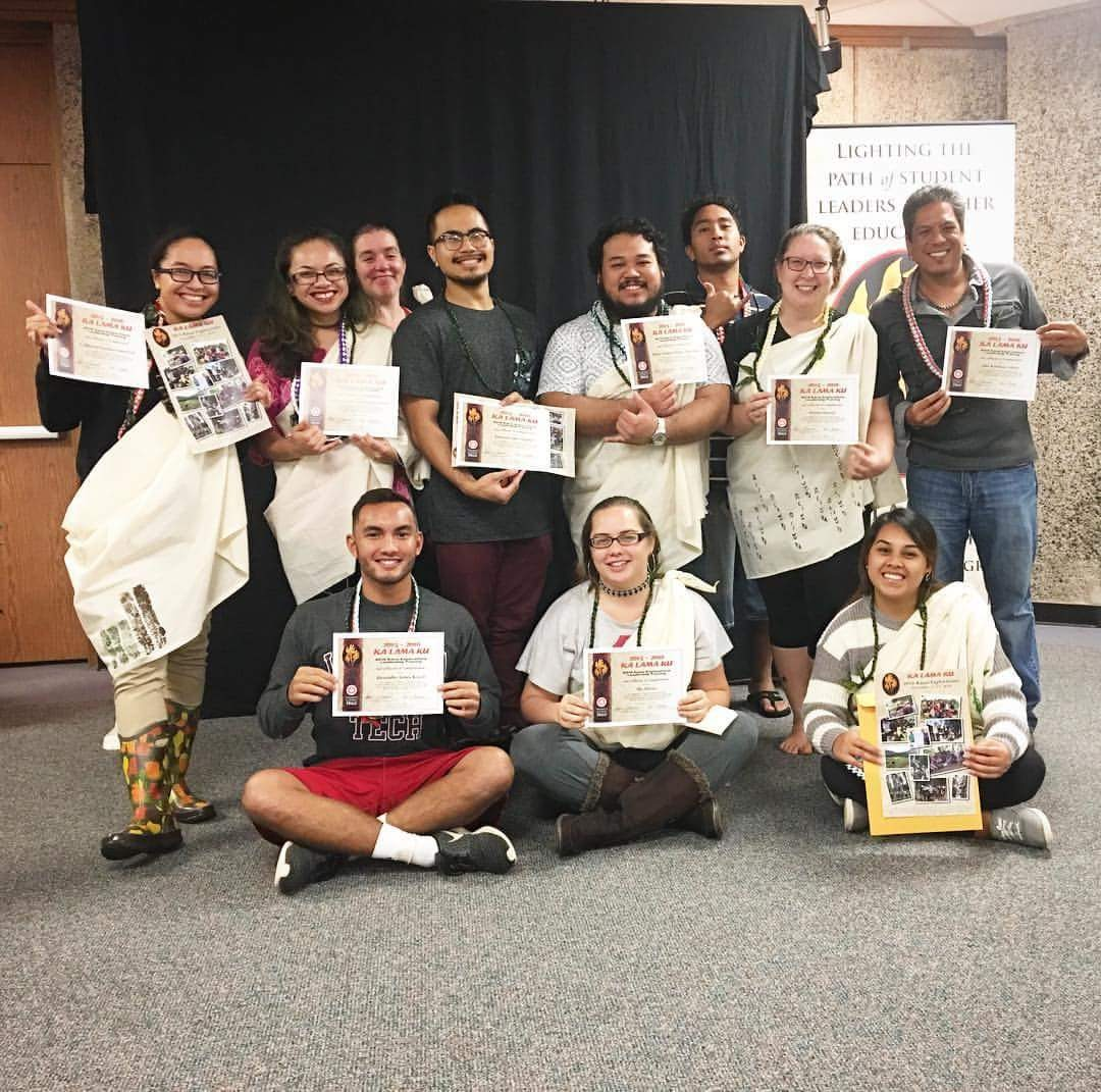 UH Hilo students celebrate their awards together.