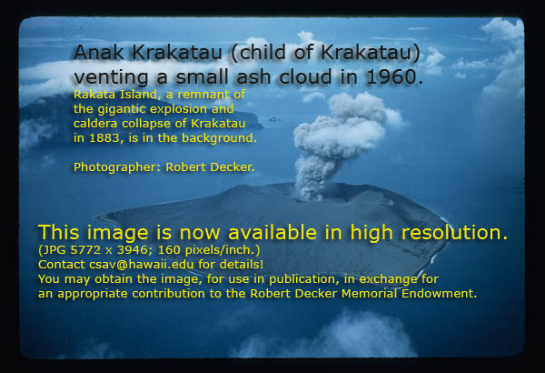 Anak Krakatau venting a small ash crowd in 1960