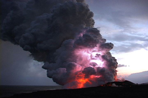 Lighting in the sky with volcanic plume in the foreground