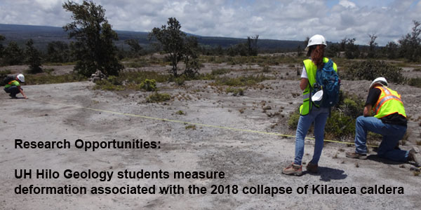 UH Hilo Geology students measure cracks associated with the 2018 Caldera Collapse of Kilauea