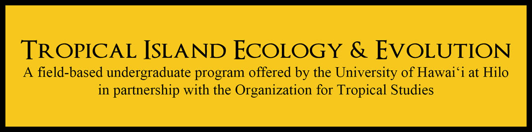 Tropical Island Ecology and Evolution - a field based undergraduate partnership offered by the Univeristy of Hawaiʻi at Hilo in partnership with the Organization for Tropical Studies