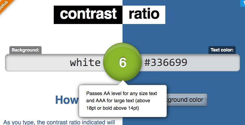 Screenshot of a Contrast Calculator