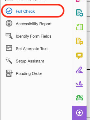 Location of 'Full Check' button in Acrobat DC's Accessibility toolbar