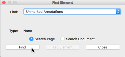 'Find Element' dialog box, with Unmarked Annotations selected
