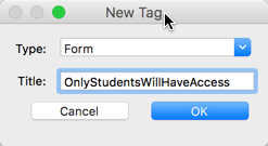 A name being entered in the 'Title' field of the 'New Tab' dialog box