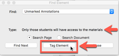 Tag Element button highlighted in the 'Find Element' dialog box