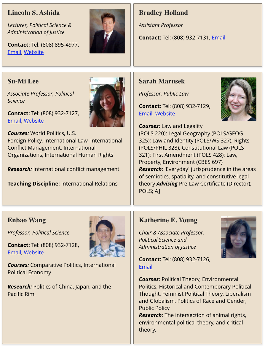 Screenshot of generated Directory Cards for the Political Science Department faculty page
