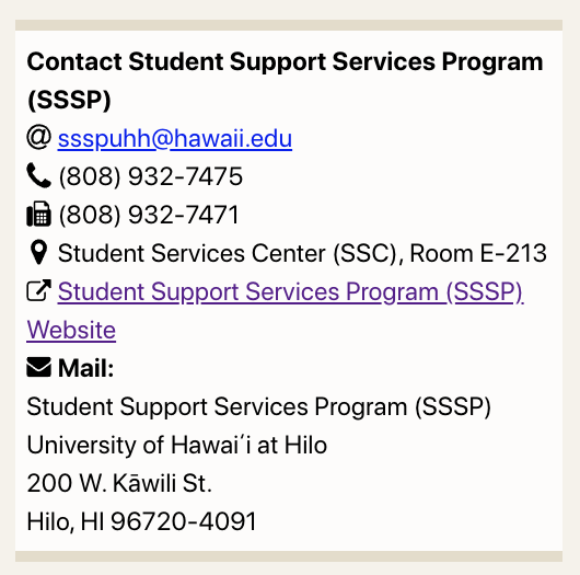 Generated Contact block for the Student Support Services Program