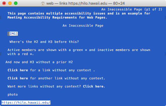 Links screenshot of a demo inaccessible page