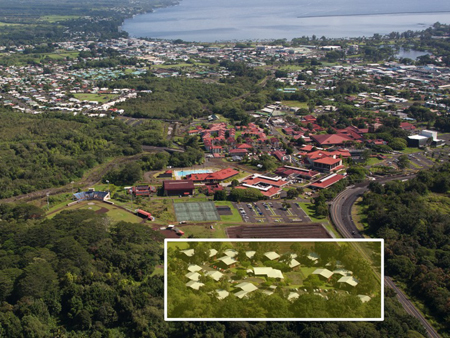 aerial view of UH Hilo campus, highlighting Adult Student Housing location