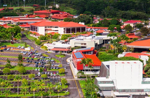 A view of the South UH Hilo campus looking towards the Athletic facilities