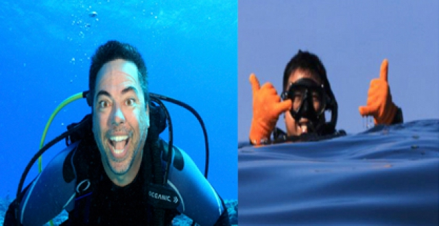 John Coney underwater, Jeff Kuwabara with a dive mask on