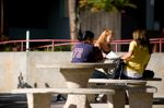 Students relax at the Campus Center plaza