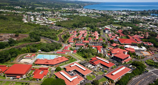 Arial view of the UH Hilo campus