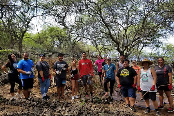 Students at a service learning project