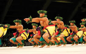 men dancing hula
