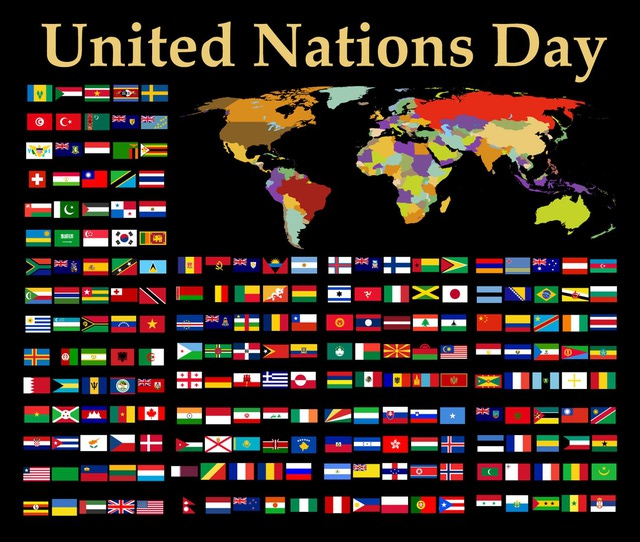 United Nations Day logo, showing flags of member nations