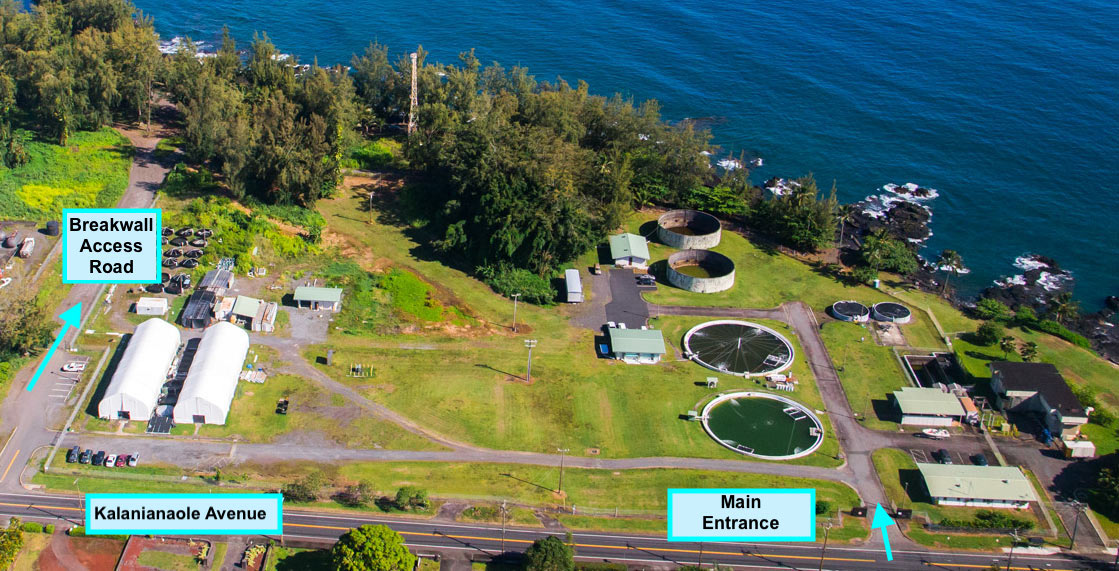 The PACRC entrance is located between the Breakwall Access Road and Puhi Bay off of Kalanianaole Avenue.