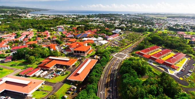 A view of Hilo bay and the UH Hilo campus