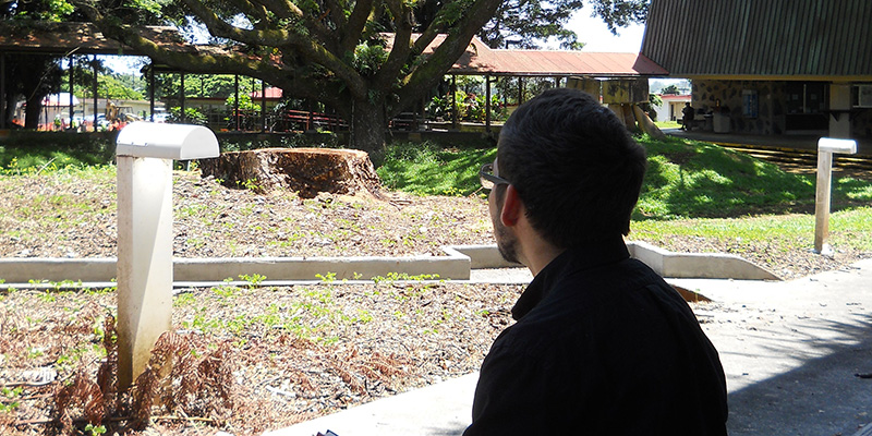 A student contemplates possibilities while looking at the Student Services Building courtyard
