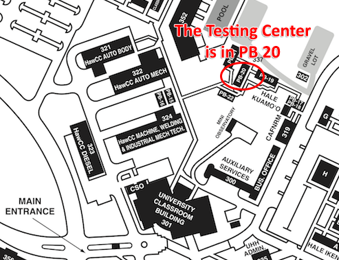 Map of testing center location