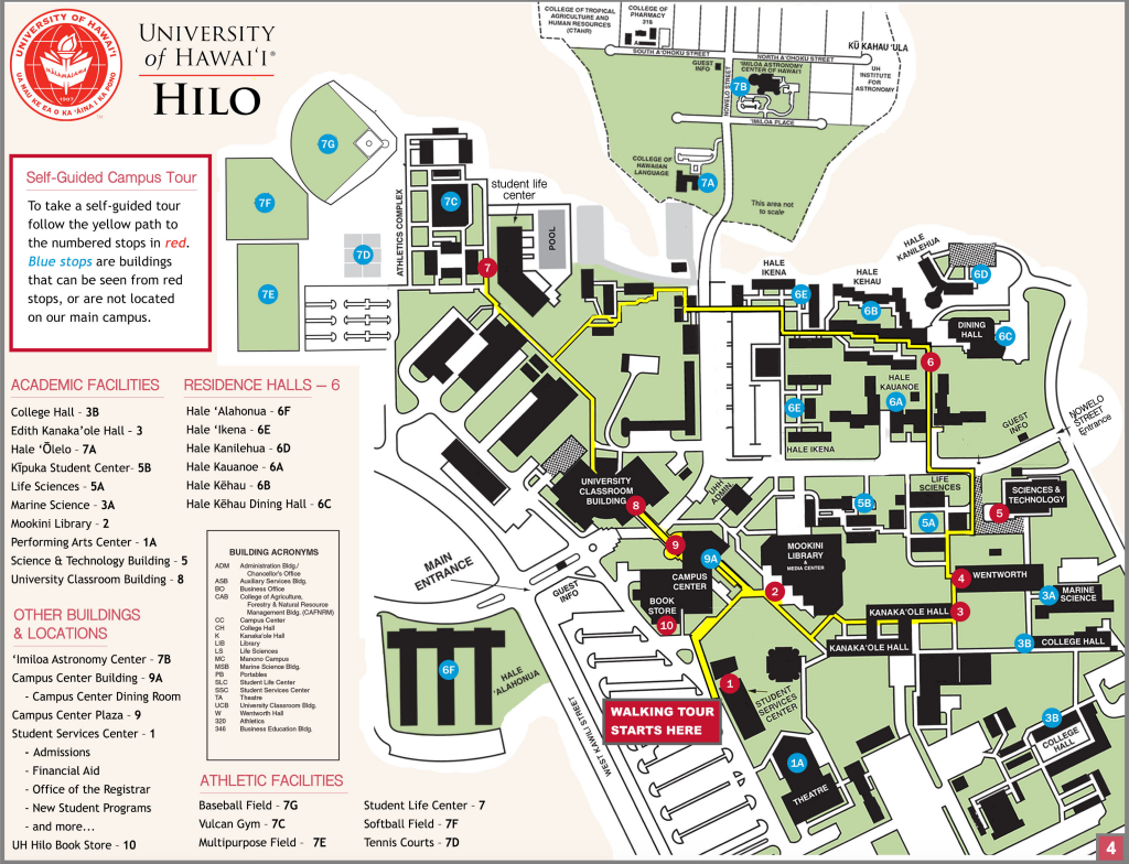 Map of campus tour locations