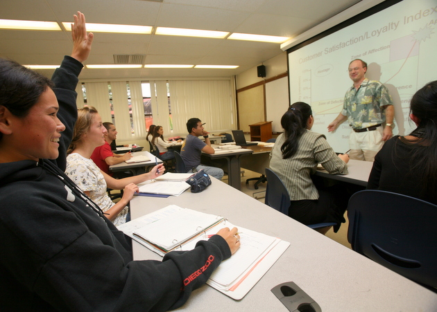 Professor Martin teaching a marketing class. Photo by William Ing